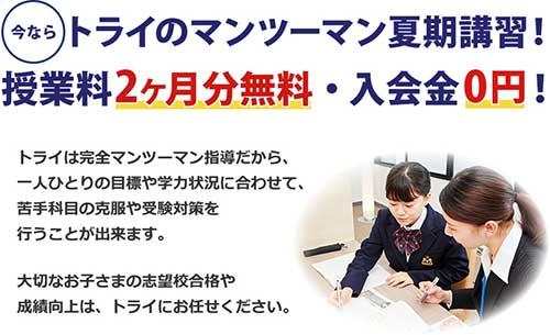 個別教室のトライ 夏の授業料2ヵ月無料&入会金0円 トライの夏期講習